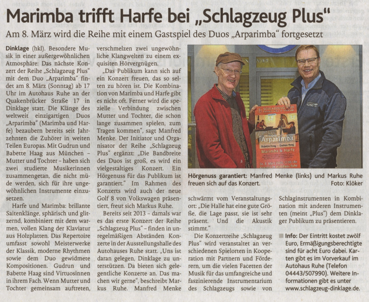 Presse-Ankündigung · Oldenburgische Volkszeitung am 11. Februar 2020