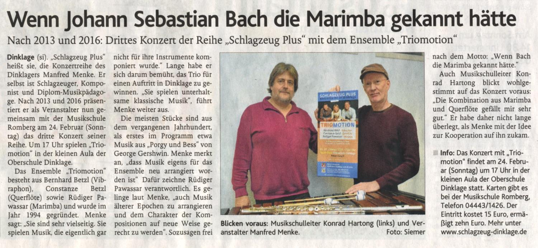 Presse-Ankündigung · Oldenburgische Volkszeitung am 16. Februar 2019